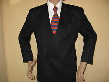 MENS YOUTHS NAVY DOUBLE BREASTED PURE WOOL FASHION SUIT 38R CHEST 30 WAIST 30 LG