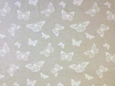 CLARKE & CLARKE MARIPOSA WHITE BUTTERFLIES INSECTS 100% LINEN CURTAIN FABRIC