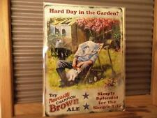 FABULOUS VINTAGE RETRO STYLE METAL WALL SIGN PLAQUE *HARD DAY IN THE GARDEN ?*
