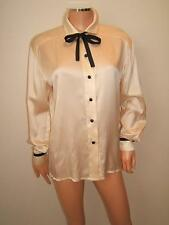 ESCADA 34 Medium SEXY Black Silk SATIN Ribbon Ivory VTG  80's Blouse Shirt Top