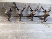 4 Rustic Elk Deer Moose Head Hooks Cast Iron Coat Hook Rack Restoration Hat