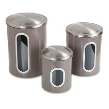 Food Storage Canister set of 3 Warm Gray Kitchen Dining Bar Organization Home