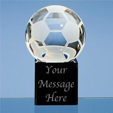 Engraved Personalised Glass Football Paperweight - Player Award Trophy