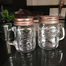 Copper MASON JARS CLEAR GLASS SALT AND PEPPER POTS SHAKER SPRINKLE BOTTLES SET