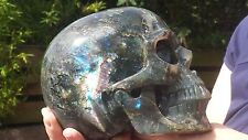 Huge Natural Madagascan Labradorite Hand Carved S Realistic Crystal Skull 2872g