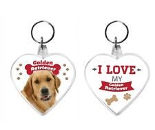 I Love My Golden Retriever Acrylic Keyring Key Ring Dog Range