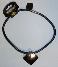 Genuine Leather Magnetic Clasp Biker Necklace, Diamond, BRAND NEW FACTORY SEALED