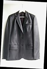 CALVIN KLEIN COLLECTION Black Label (MADE in ITAY) LAMB SKIN LEATHER Coat JACKET