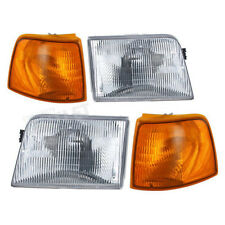 Headlight Headlamp & Corner Parking Lights Left & Right Set Kit for 93-97 Ranger