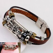 Vintage Men Leather Braceletes Parataxis Dragon Multilayer Gothic  jewellery New
