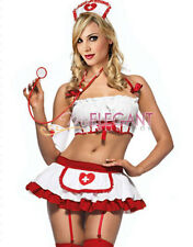 Lady Adult Women White Nurse Costume Halloween Fashion Outfit Dress Lingerie