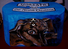 Custom hand painted DACHSHUND portrait memorial Wood box Pet URN For ashes DOG