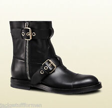 Gucci Size US 14 M (13 G) Black Leather Motorcycle Boots Mens Shoes Made Italy
