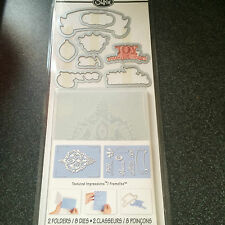 SIZZIX ORNAMENT SET 8 DIES 2 EMBOSSING FOLDERS JOY PEACE FRAME CHRISTMAS BAUBLE