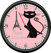 Chic Paris France Shabby Apartment French Kitty Cat Eiffel Tower Wall Clock
