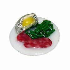 Mini Handcrafted Beef Dinner with Baked Potato in Foil 1:12 Dollhouse Miniatures