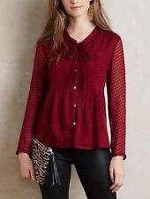 ANTHROPOLOGIE Meadow Rue Clipdot Tieneck Button Down Blouse NWT/package Medium