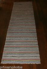 Outstanding Antique Swedish Hand Made Rag Rug (25 x 102 inches)
