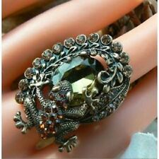 Peridot Amber Champagne Crystals Unusual Gift for Her Ring Art Deco Victorian