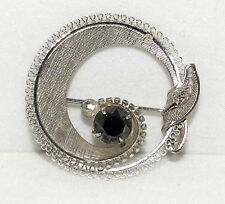Vtg Sorrento Sterling Silver Matte Finish & Hematite Circle Pin w/ Looped Border