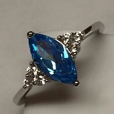 Marquise 1ct London Blue Topaz 925 Solid Sterling Silver Solitaire Ring sz 6