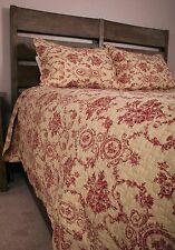 King Quilt Set French Country Floral Urn Toile Burgundy Red Ecru Cotton