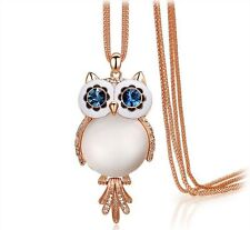 18K Rose Gold Plated Opal Blue Crystal Owl Pendant Long Necklace Sweater Chain