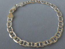 """10"""" MARINA ITALIAN STERLING SILVER 925 ANKLE BRACELET-6mm-FACETED-PAVE/POLISHED"""