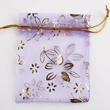 50x Purple Tulip Organza Pouch Gift Bag Wedding 120103