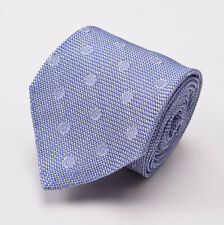 New $255 TOM FORD Silk Tie Sky Blue-White Woven Circle Dot Pattern