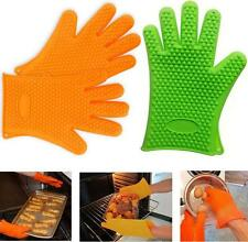 Heat Resistant Silicone Kitchen Oven Glove Cooking Mitts Grip Pot Pan BBQ Holder