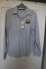 Womens blue and white striped shirt embroidered logo Ralph Lauren Sport size 12