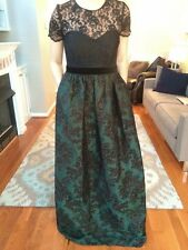 Badgley Mischka Dress Gown/Size 8/black green/Perfect for holiday, ball, gala!