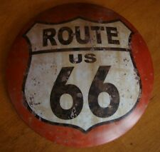 RUSTIC ROUND DOMED ROUTE 66 TIN SIGN Retro Highway Sign Home Gas Station Decor