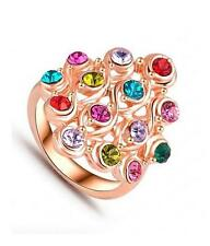 G5 Multi Color Crystal Flower Floral RING Pink Rose Green Red Gold Tone NEW