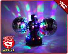 Disco Mirror Ball Light w/ 32 Multi-Colour LED Lights 12cm balls TWIN ROTATING!!