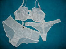 BOUX AVENUE SIZE 38FF & 20 WHITE EMBROIDERED FULL SUPPORT PLUNGE BRA SET £42.00