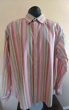 Men's Striped Ted Baker Jean Button Front Shirt Multi-Color Size 5 XLarge