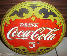 "COCA COLA/ COKE 5 CENTS, ROUND 12"" STEEL WALL SIGN, REPRO, BAR/DINER/KITCHEN"