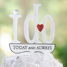 I DO Today And Always Red Heart Wedding Cake Topper Pick Monogram 538