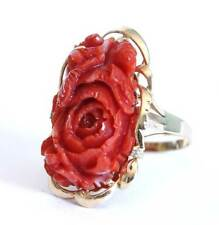 Vintage Deep Red Coral Carved Flower Diamond Ring 14kt Yellow Gold Handmade