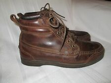 RJ COLT! Mens 9 Brown Leather Lace Up Ankle Boots Combat Motorcycle Dress Shoes!