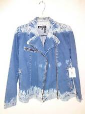 Urban Outfitter Kill City Motorcycle Biker blue Jeans dye print jacket SZ XS NWT