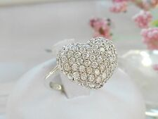 QVC-Diamonique Pave Heart Sterling silver Ring Size 8