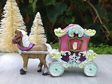 Miniature GARDEN Mini Village ~ SNOW FAIRY Frozen CHRISTMAS Horse and Carriage