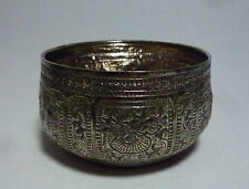 Thai Thailand Old Sterling Silver Bowl with Repousse Zodiac Animals