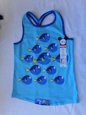 Okie Dokie Girls Disney Finding Dory Knot Back Tank Top Blue Fish Size S4  NEW