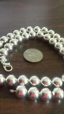 "New 925 Sterling Silver 10 mm Ball Beads 20"" Necklace & Bracelet Set Ships Today"