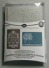 sizzix embossing folders flowers in vase & perfume label by jen long RRP £7.99