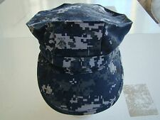 USN US NAVY SEAL SAILOR BDU MARPAT NWU BLUE CAMO COMBAT CAP 8 POINT COVER  7 1/2